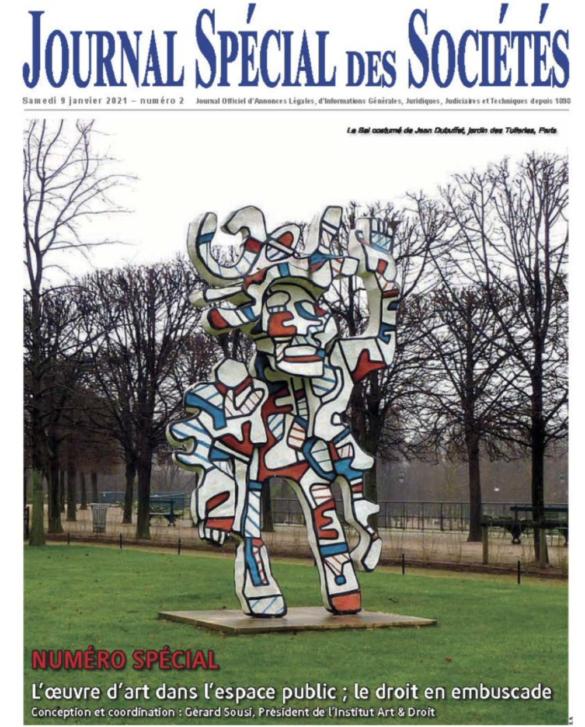 Retrouvez le dernier article publié par Bosco Avocats en partenariat avec l'Institut Art & Droit dans le Journal spécial des sociétés du 9 janvier 2021